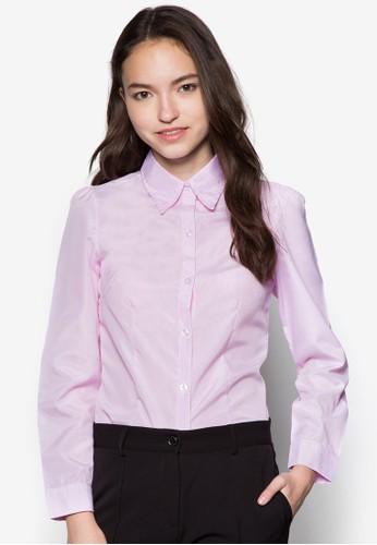 Iris 細條紋長袖襯衫, 服飾, zalora taiwan 時尚購物網上衣