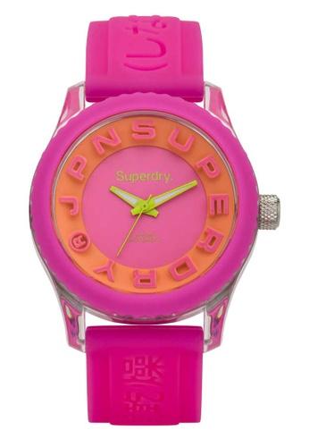 Superdry pink Superdry Tokyo Orange and Pink Silicone Watch CB8A4ACD311D5DGS_1