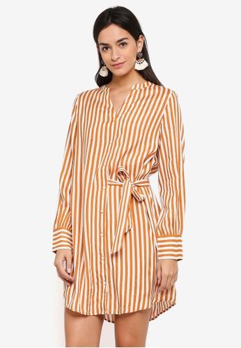 Vero Moda white and orange Bloom Shirt Dress 4A32AAA3924CB1GS_1