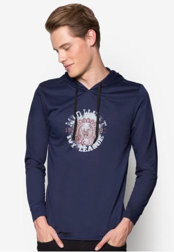 印花連帽長esprit台灣網頁袖衫, 服飾, 運動T恤