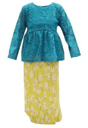 MINI PINK multi Summer Turquoise Embroidered Chiffon Lace Peplum Baju Kurung A4097KACD06CD0GS_1