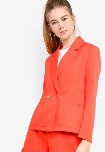 Something Borrowed orange Double Breasted Fitted Blazer 0B8F6AAA43C8C5GS_1