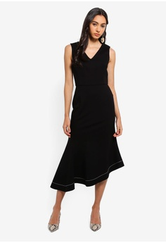 Dressing Paula black Asymmetrical Roma Midi Dress F4689AAE1DE8FCGS 1 ce7539ec4