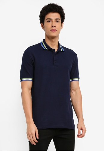 MANGO Man blue Contrast-Edge Cotton Polo Shirt CDEB9AAD42CE5EGS_1