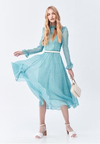 iROO green Floral Print Chiffon Dress A5741AAF3955BFGS_1