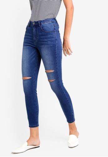 ZALORA BASICS blue Mid Waist Skinny Jeans D9D81AA88B78FDGS_1