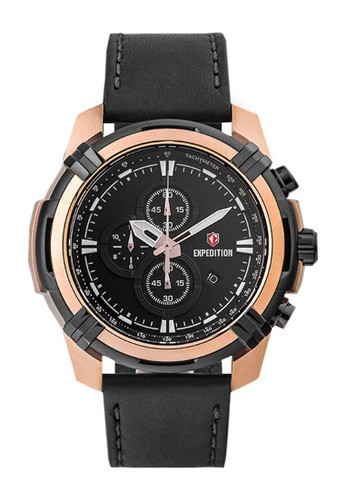 Expedition black Expedition Jam Tangan Pria - Black Rosegold - Leather Strap - 6786 MCLBRBA 91C50AC214B002GS_1