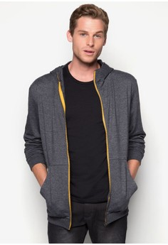 Hoodie With Contrast Color Zip Tape