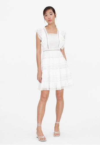 Pomelo white Open Back Ruffle Tiered Dress - White 0E7B2AA63C6B73GS_1