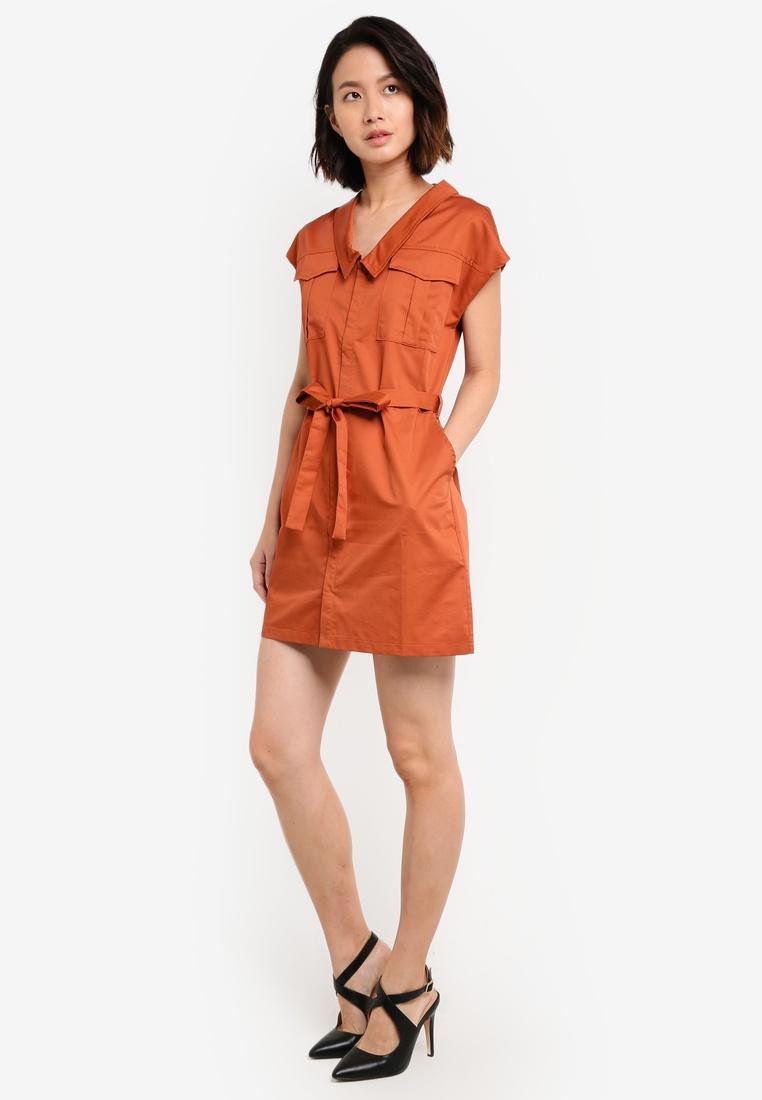 Utility Orange Sleek Dress ZALORA Satin Burnt XFC5CxwAq