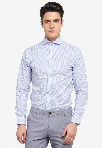 Selected Homme 藍色 修身條紋長袖襯衫 92E5CAAA135346GS_1