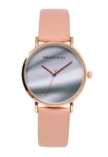 Milliot & Co. 粉紅色 Ginger 玫瑰金 皮革 Strap 手錶 2A0BDAC0C6BBCBGS_1