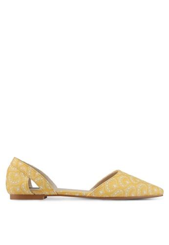 ZALORA yellow Jaquard Fabric Flats 9C142SH9D62219GS_1