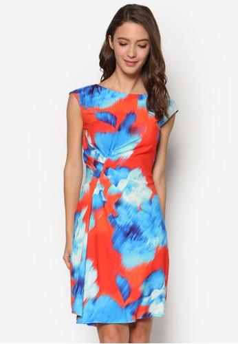 esprit 台中側抓褶印花連身裙, 服飾, 洋裝