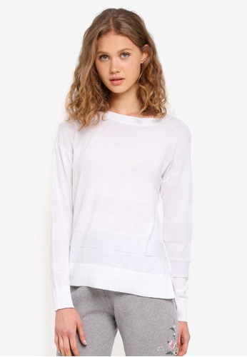Jack Wills white Roseford Textured Stripe Crew Sweater 7E823AA26A0C0EGS_1