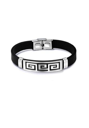 ADORA silver Stainless Steel Silicon Bracelet 70653AC0414397GS_1