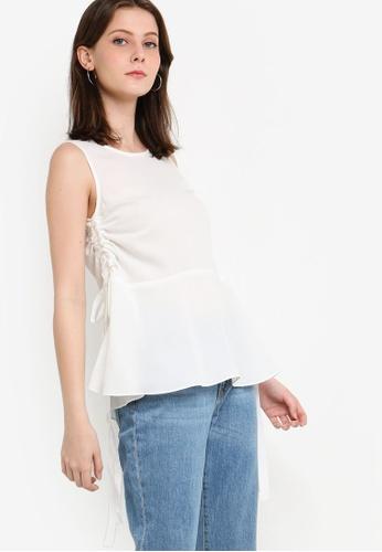 ZALORA 白色 無袖褶飾上衣 39E6BAA7678505GS_1