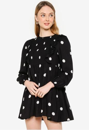 Miss Selfridge black Petite Black Spot Frill Smock Dress 5055DAAA9B6C04GS_1