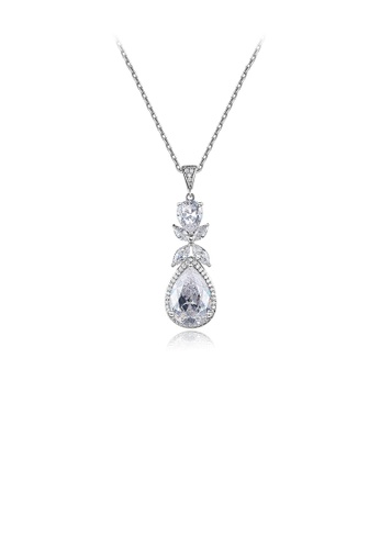 Glamorousky white Fashion and Elegant Flower Water Drop Pendant with Cubic Zirconia and Necklace 6D5E0AC46AF0DBGS_1