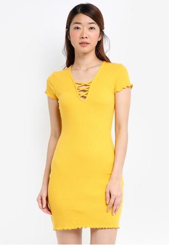 Miss Selfridge yellow Ochre Ribbed Lattice Bodycon Dress C2DA2AAD0E52C2GS_1