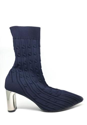 Twenty Eight Shoes 藍色 飛織紐紋金屬踭短靴6619 8D110SHBE85123GS_1