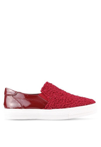 Something Borrowed red Shearling Slip On Trainers 74E63ZZ83FAD29GS_1