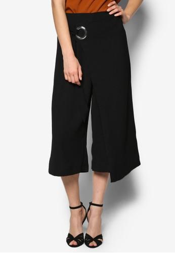 金屬扣環裹飾七分寬管褲, 服飾, 長褲zalora時尚購物網評價及內搭褲