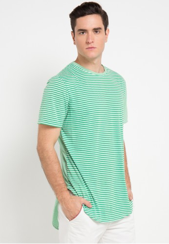 B-Side by Bleach Project green Striped Scoop Roundneck Tee BS692AA0VRRIID_1