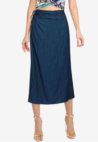 Urban Revivo 海軍藍色 紋理Midi Skirt 90174AA2D0A6F4GS_1