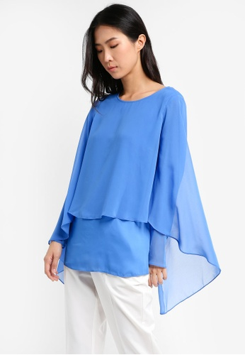 Wallis blue Blue Layered Sleeve Top WA800AA0T08PMY_1