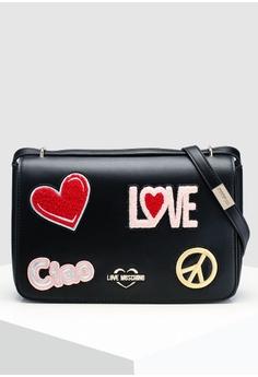 e18a1611dcb6 Love Moschino black Shoulder Bag With Decorative Patches BE360AC8A83EC8GS 1