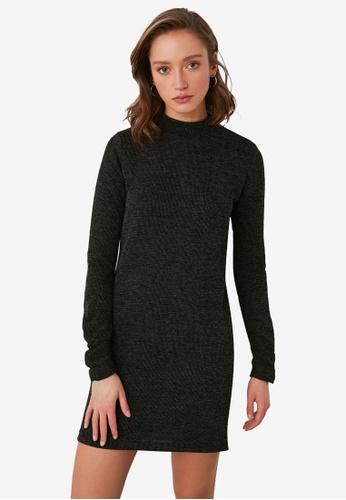 Trendyol grey Mock Collar Knitted Dress 7403EAA2317171GS_1