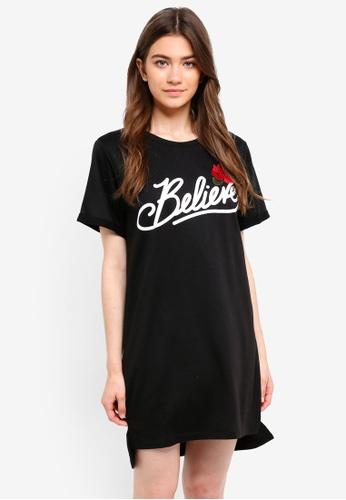 Something Borrowed black Step Hem Dress With Slogan 28945AACBECC7BGS_1