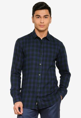 Only & Sons green Emil Long Sleeve Flannel Shirt D65D6AA7B94E84GS_1