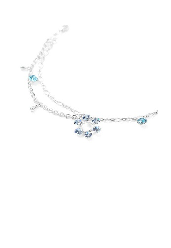 Glamorousky blue Flower Anklet with Blue Austrian Element Crystals 51C5FAC5B17852GS_1