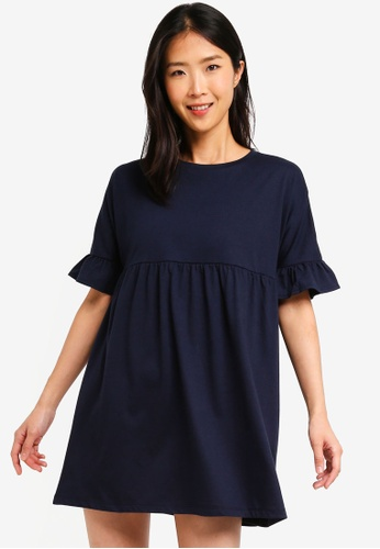 ZALORA BASICS navy Basic Jersey Smock Dress B985CAA3089D59GS_1