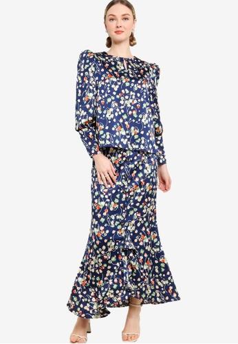Lubna navy Floral Print Drama Sleeve Kurung 421E2AA401259BGS_1