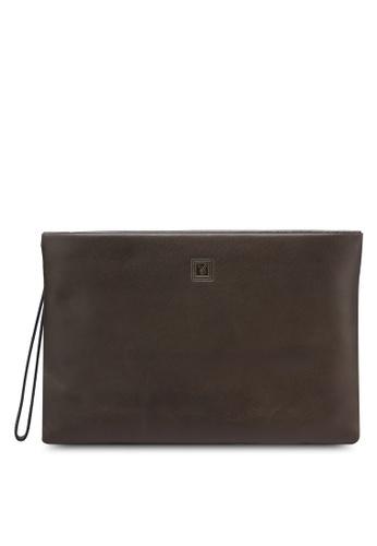 Playboy brown Playboy Genuine Leather Clutch Bag PL371AC0RJXGMY_1