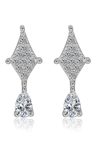 LYCKA silver LFF5212-LYCKA-S925 Siliver White Zircon Water Drop Earrings-Silver 25BF9ACFA24B4DGS_1
