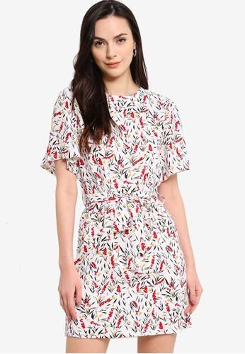 ZALORA WORK white Flare Sleeves Dress With Self Tie 55397AAFD2DE59GS_1
