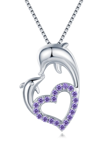 MBLife silver 925 Sterling Silver Purple CZ 'Forever Dolphin Love' Necklace CA2ABAC5A9B886GS_1