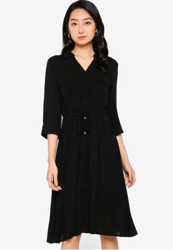 ZALORA BASICS 黑色 Tie Waist Midi Shirt Dress B423FAA9B14088GS_1
