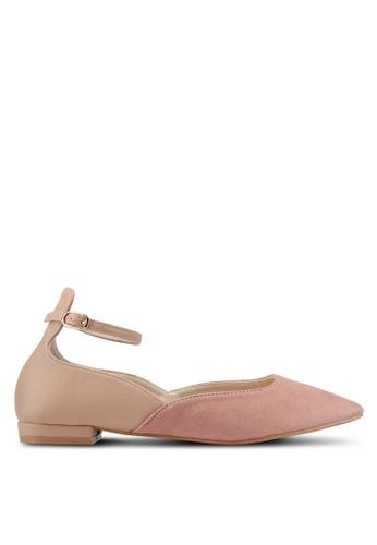ZALORA brown Two-Tone Ankle Strap Flats FB07CSHD28E2C2GS_1