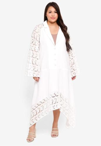 ELVI white Plus Size Kicha Broderie Mix Asym Dress FAEC5AAB8E63CBGS_1
