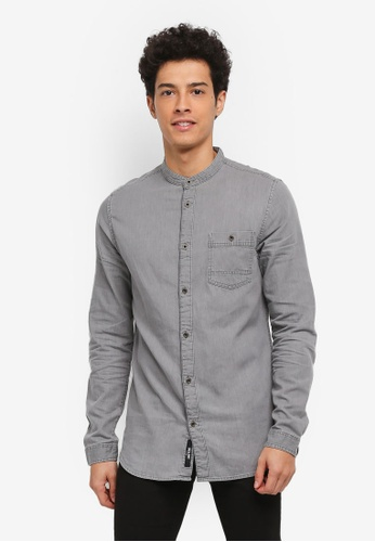 Only & Sons grey Try Longline Denim China Shirt 3F9DAAA0448357GS_1