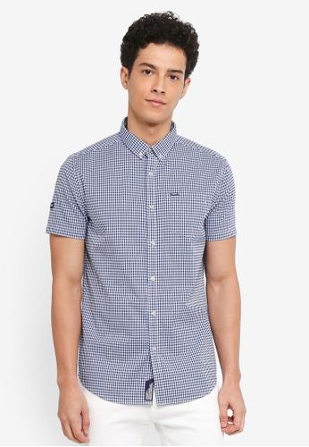 Superdry 藍色 短袖格紋牛津襯衫 8C439AA86C9BB7GS_1