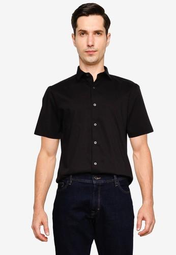 Topman black Black Stretch Skinny Shirt 02B9FAAA388287GS_1