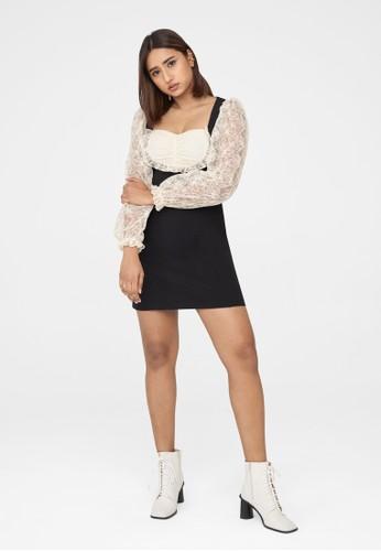 Pomelo black Mini Sweetheart Neck Dress - Black 26B52AA8FF6BE6GS_1