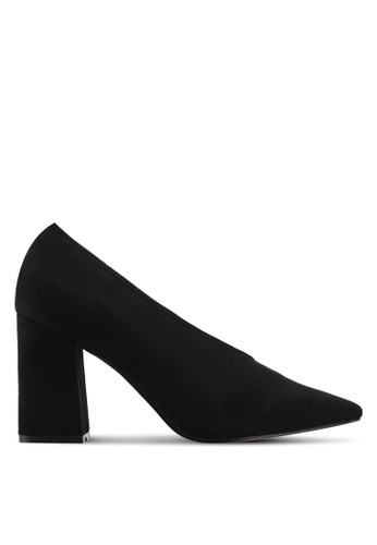 Public Desire black Spy Point Toe Block Heels 78210SHCE0EFBCGS_1