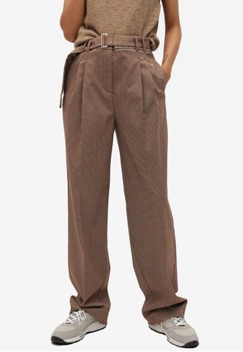 Mango brown Pleat Detail Trousers 1E06FAADF09817GS_1
